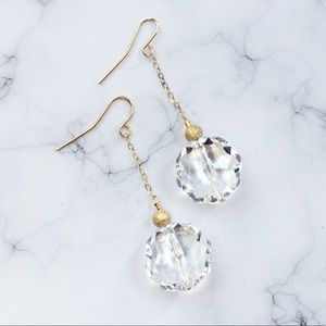 Jewelry - Handmade Clear and Gold Earrings